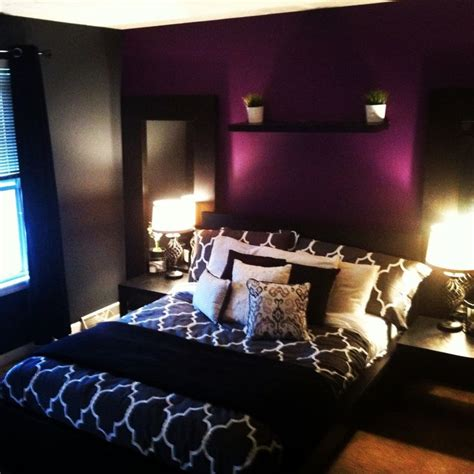 purple bedroom accent wall apartment improvement grey bedroom with purple accent wall home decor pinterest