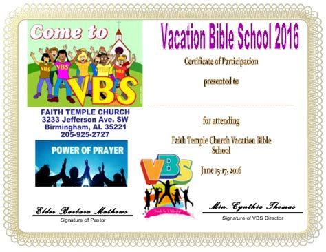 Free Vbs Certificate Templates by Vbs Certificate Child