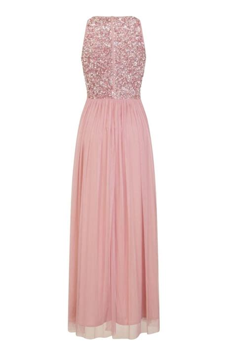 lace beads picasso rose pink embellished maxi dress