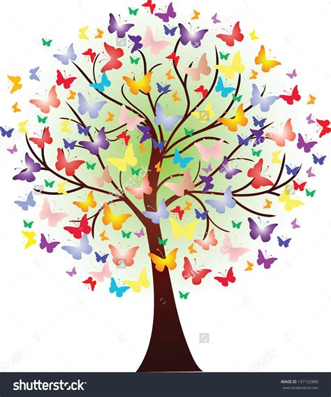 color tree vector beautiful tree consisting of butterflies of