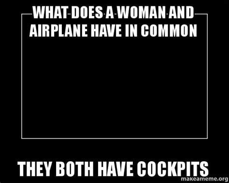 What Do Meme - what does a woman and airplane have in common they both have cockpits motivational meme make