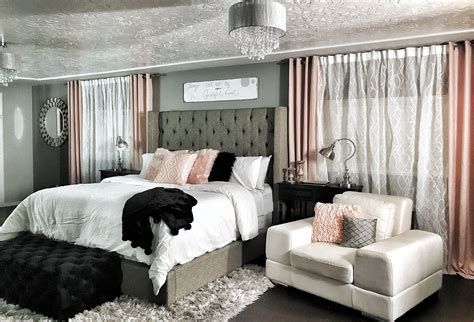 master bedroom dramatic wing  bed champagne rose