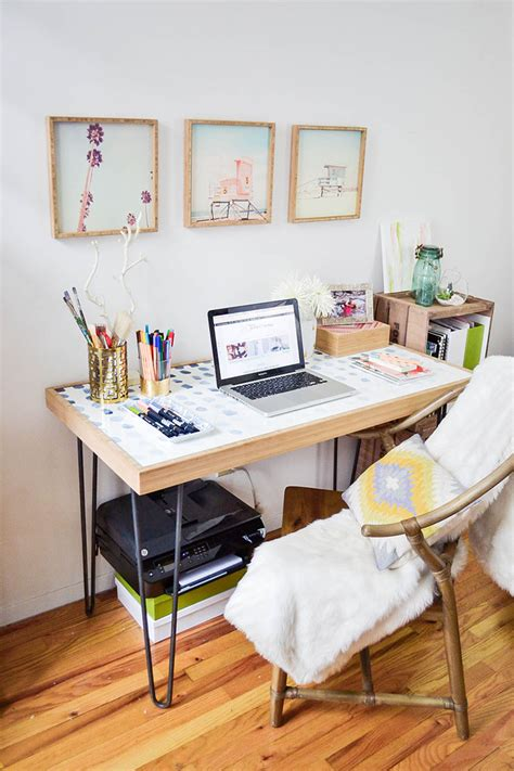 A Small Industrial Apartment With A Home Office Blue Decor by How To Create A Home Office In A Tiny Apartment