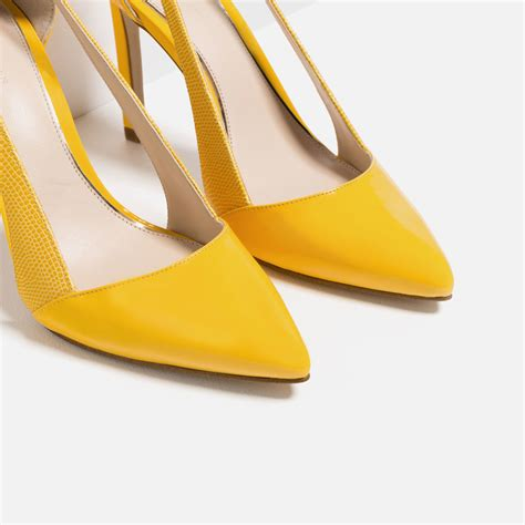 zara high heel shoes  bow  yellow lyst