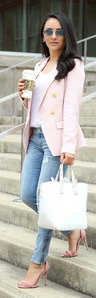 Best 25+ Light pink blazers ideas on Pinterest | Jeans and blazer outfits Blazer and jeans ...