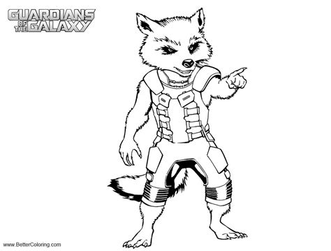 guardians   galaxy rocket raccoon coloring pages