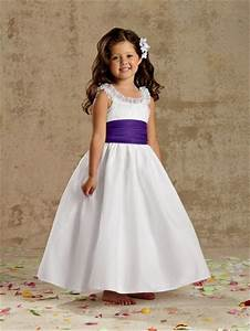 a line princess scoop tea length white taffeta wedding With girl dresses for weddings