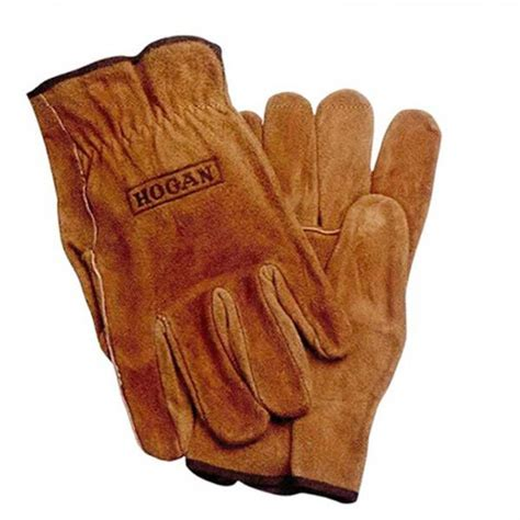 Split Cowhide Leather by Unlined Gold Brown Split Cowhide Leather Gloves Logo