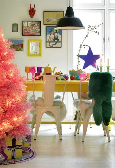 cute  beautiful pink christmas tree  dining room ideas