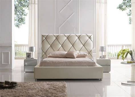 designer headboards elegant leather high end platform bed with led light evansville indiana esf6200