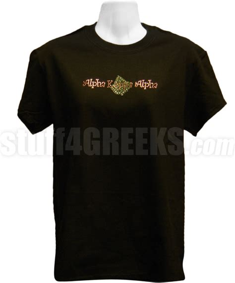 alpha kappa alpha metallic stud t shirt with organization name and leaf black