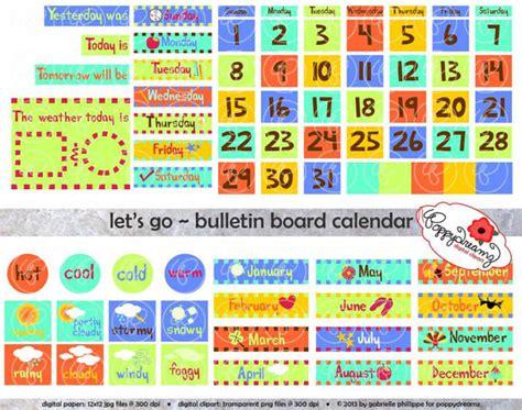 Bulletin Board Calendar Template by Let S Go Bulletin Board Calendar Clipart Set 300 Dpi