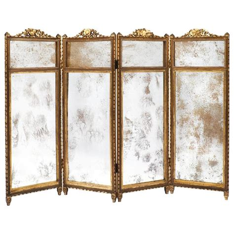 french louis xvi gilt  mirrored folding screen  stdibs