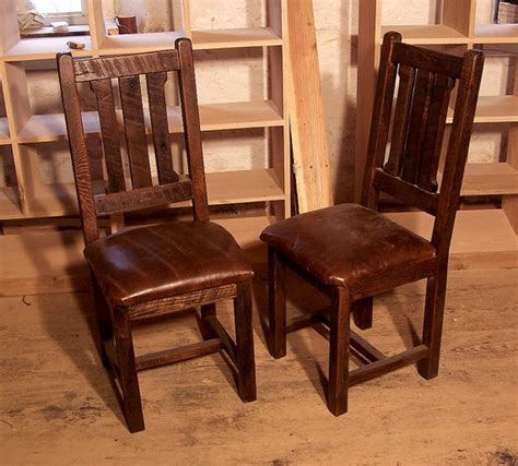 reclaimed oak rustic mission dining chair  upholstered
