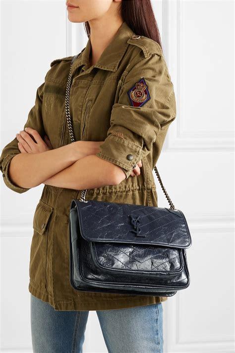saint laurent niki medium quilted crinkled glossed leather shoulder bag  navy blue lyst
