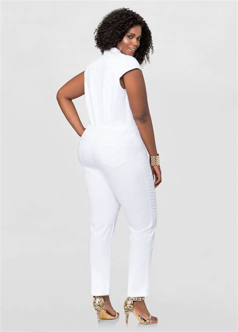 white denim jumpsuit grommet detail denim jumpsuit plus size