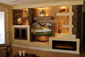 drywall entertainment center with media wall family room ...