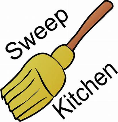 Clip Kitchen Clipart Sweep Chores Chore Table