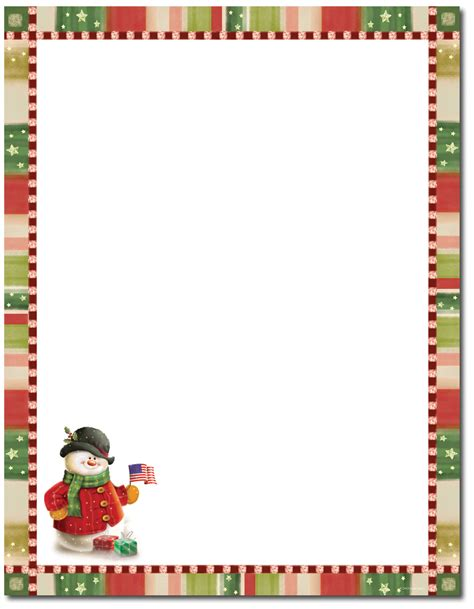 free christmas stationery great papers patriotic snowman letterhead