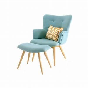 Fauteuil Scandinave Tissu : fauteuil scandinave en tissu avec repose pieds bleu stockholm ~ Teatrodelosmanantiales.com Idées de Décoration