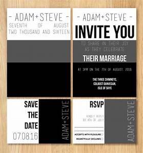 gay wedding invitation stationery sample set minimalist With gay wedding invitations samples