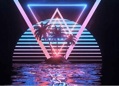 Wave Vapor Retro Tropical Paradise Pyramids Computer