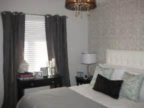 gray grommet curtains contemporary bedroom wallpaper