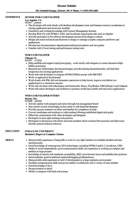 Web Ui Developer Resume Samples  Velvet Jobs