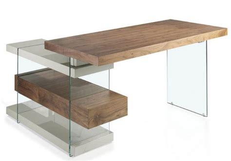 bureau bois foncé bureau d 39 angle comtemporain bois noyer et verre moza