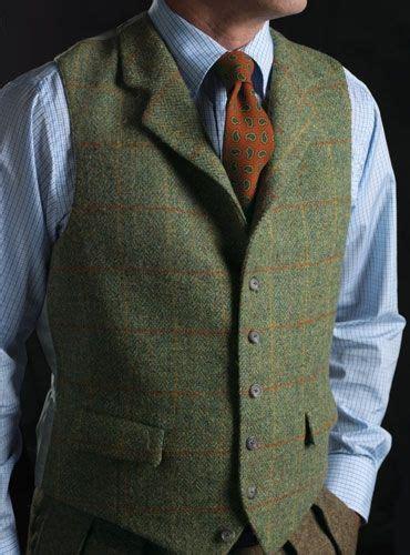 tweed waistcoat  green orange british styles mens slim