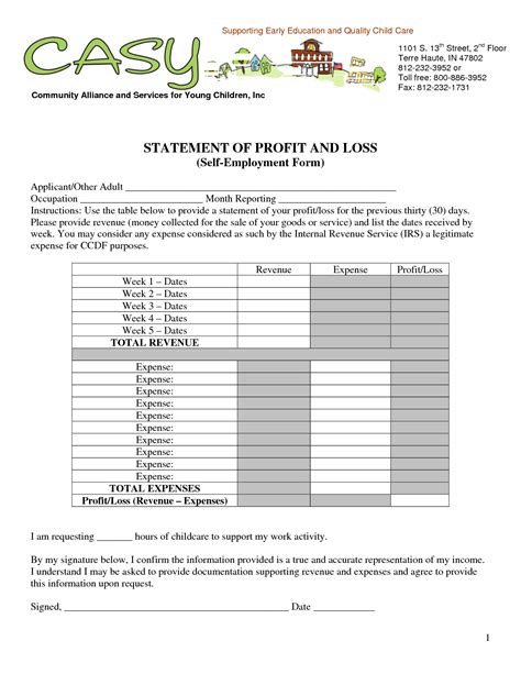 profit and loss template for self employed free profit and loss template self employed search engine at search