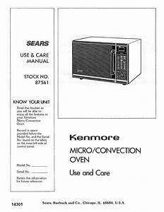 Kenmore Convection Oven 87561 User Guide