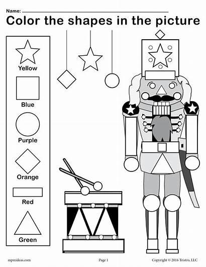 Christmas Shapes Nutcracker Worksheet Printable Worksheets Coloring