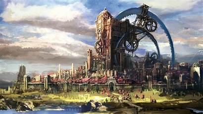 Fantasy Steampunk Cities Building Tera Drawing Mmorpg