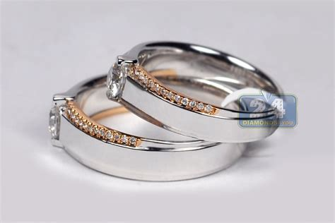 diamond solitaire wedding bands rings his her set 18k gold