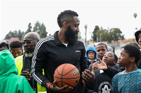 Houston Rockets star James Harden visits his old middle ...