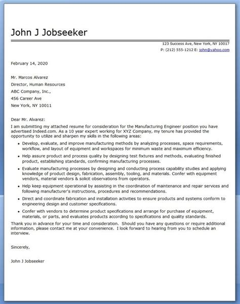 cover letter  manufacturing engineer creative resume