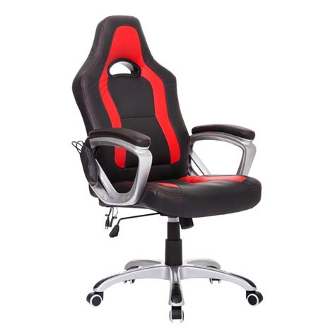 homcom race car style pu leather heated massaging office