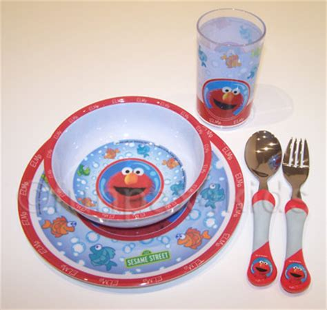 funpax themed gift packs  kids sesame street elmo dinnerware cutlery gift set bnib