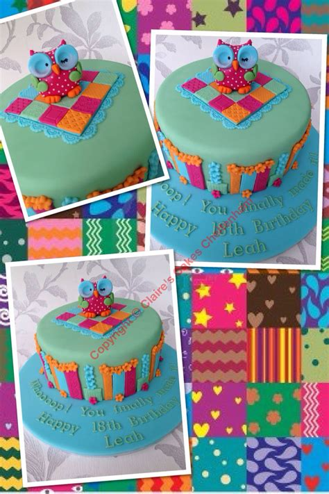 patchwork owl themed birthday cake baby themed