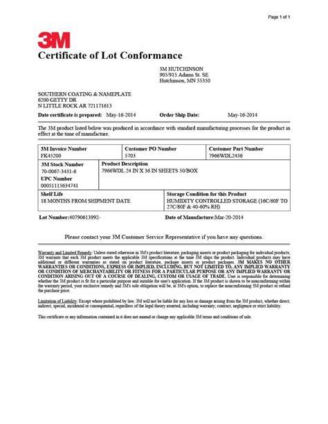 certificate  conformance templates forms