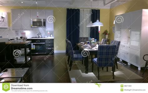 kitchen and dinning room design editorial stock photo