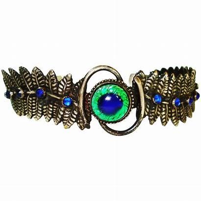 Peacock Jeweled Czech Bracelet Eye 1712 Marked