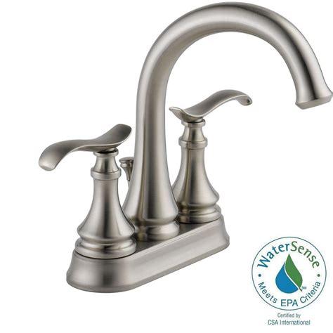 brushed nickel bathroom faucets delta delta kinley 4 in centerset 2 handle bathroom faucet in