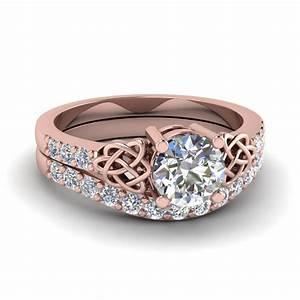 round cut diamond wedding ring set in 14k rose gold With rose gold diamond wedding ring set
