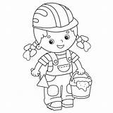 Trowel Cartoon Cement Builder Mortar Outline Coloring Profession Vector Illustrations Clip Vectors Activity Brick Construction Istockphoto sketch template