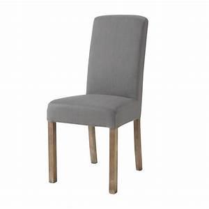 Housse De Chaise Grise : housse de chaise en lin lav grise margaux maisons du monde ~ Teatrodelosmanantiales.com Idées de Décoration