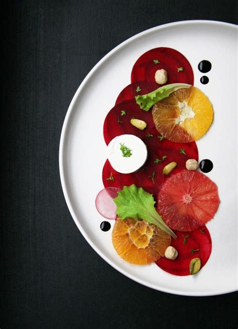cuisine decorative a lovely beet carpaccio salad with orange goat cheese and