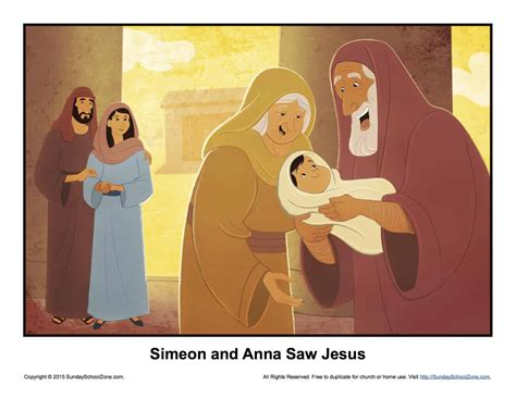 simeon  anna  jesus story illustration childrens