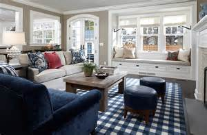 Navy Buffalo Check Curtains by How To Design A Trendy Fun Family Room2014 Interior